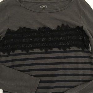 Loft Lace and Striped T Shirt